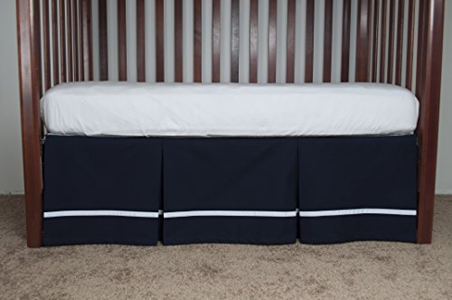 AB Lifestyles Navy Crib Dust Ruffle with White Ribbon Trim 15 inches long from AB Lifestyles