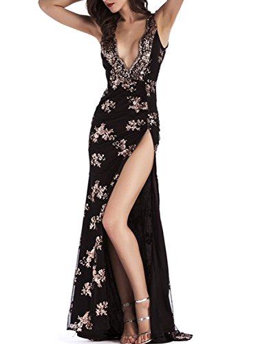 Black Sexy Floral Maxi BerryGo Women's High Backless Halter Dress 1 Split Sequin 5nwvSwq6