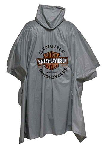 Harley-Davidson Long Bar & Shield Waterproof Vinyl Rain Poncho, Gray RP31254