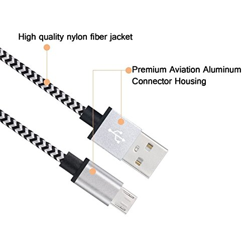 Myckuu Premium Nylon Braided Rapid Micro USB to USB Cable,3pcs 3ft / 1m Data Cable, Sync and Charger for Android, Samsung, HTC, Nokia, Sony Xperia and More (white)