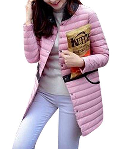 youtobin-womens-single-breasted-long-thin-down-jacket-lapels-outwear-l-pink