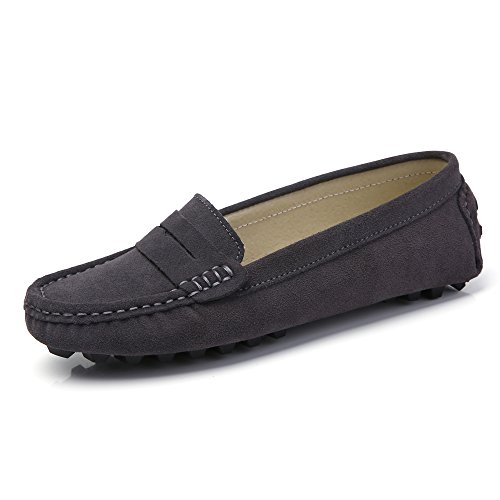SUNROLAN 808-2hui7.5 Rebacca Women's Suede Leather Driving Moccasins Slip-On Penny Loafers Boat Shoes Flats Beluga US 7.5 by SUNROLAN