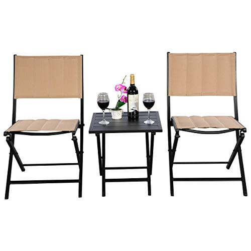 Cypress Shop Folding Outdoor Patio Furniture Set Stackable Foldable Chairs Folding Tea Coffee Table for Swimming Pool Side Deck Parties Garden Furniture Bistro Seating Set of 3 Home -