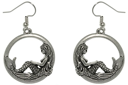 Pewter Earings (Jewelry Trends Beautiful Mermaid on Waves Round Hoop Pewter Dangle Earrings)