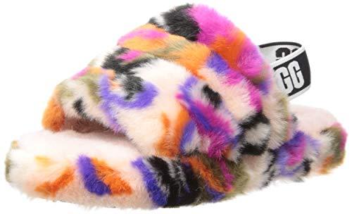 UGG Girls' Fluff Yeah Slide MOTLEE Flat Sandal, Multi, 6 M US Toddler -