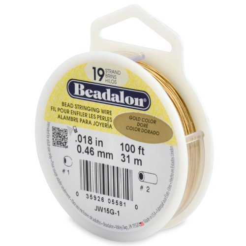 Beadalon 19-Strand Bead Stringing Wire, 0.018-Inch, Gold Color, 100-Feet ()