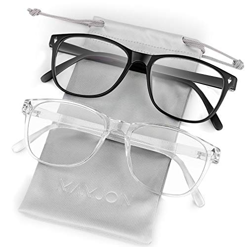 Mamjoin Blue Light Blocking Glasses, Square Computer Eyewear Clear Lens Eyeglasses Frame for Men Women Youth, Anti Eye Strain and Glare, UV400 Protection, 2 Pack Black and Transparent