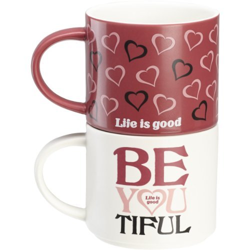 Life is good. Stackable Mug Set - Be You Tiful - Simply Ivory/Hibiscus Pink