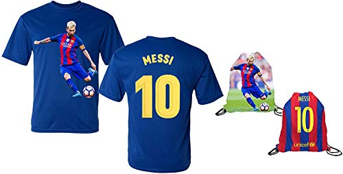 Messi Jersey Style T-shirt Kids Lionel Messi Jersey T-shirt Gift Set Youth Sizes ✓ Premium Quality ✓ ✓ Soccer Backpack Gift Packaging (YS 6-8 Years Old, Messi) (Toddler Barcelona Jersey)