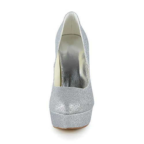 JIA JIA Damen Brautschuhe 2013A Geschlossene Zehe Stiletto-Absatz Funkelnd Glitzer Plateau Pumps Hochzeitsschuhe Silber
