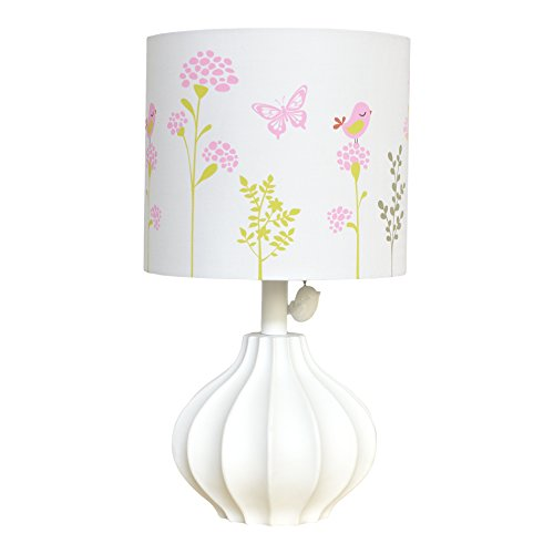 Just Born Nursery Lamp, Botanica Collection w/ Floral Shade, Pink/Coral/Green