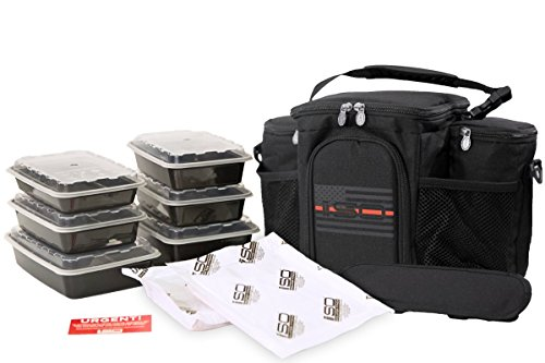 Meal Prep Insulated Lunch Bag - Isobag 3 Meal Thin Red Line - 4 Fully Insulated Compartment Meal Management System - Includes 6 Reusable BPA-free Containers, 2 Ice Packs & Padded Shoulder Strap (Isobag System Meal 3)