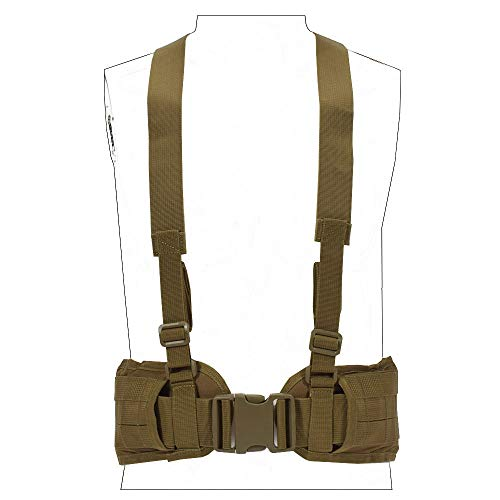 SINAIRSOFT Tactical Waist Belt with X-Shaped Suspenders Free Straps Airsoft Combat Padded Molle Belt Coyote Brown