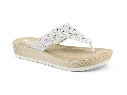 AARZ LONDON Women Ladies Everyday Diamante Casual Slip On Comfort Super Lightweight Spring Summer Sandal Shoes Size White 2VMVAxg