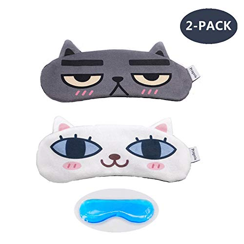 [2 PACK] MicroBird Cat&Dog Cute Sleep Eye Mask for sleeping, Super Soft and Light for Insomnia Puffy Eyes, Shift Work Blindfold Eyeshade for Men and Women kid ()