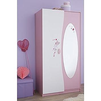 Kleiderschrank rosa/weiß 2 Türen B 94 cm Schrank Drehtürenschrank ...
