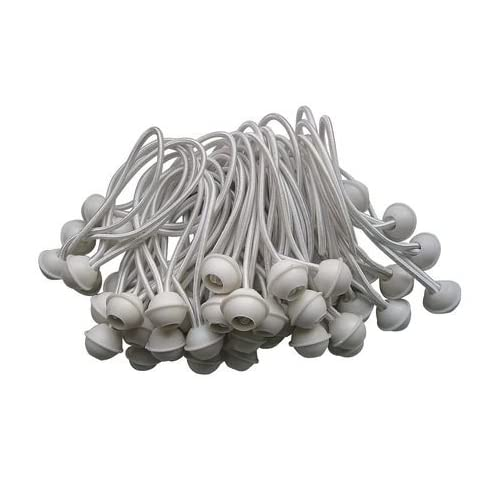 """100pc Ball Bungee Cords- 6"""" long Ball Tie Downs - White - National Standard Products (6 Inch Long)"""
