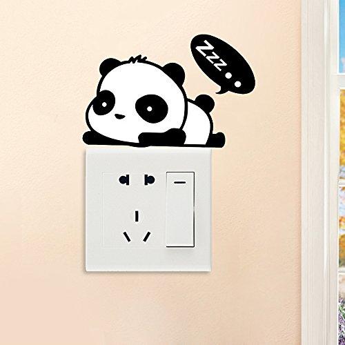 HOBOYER Creative Removable Wall Stickers Above The Switch, PVC Waterproof Peel And Stick Wall Decals For Living Room Children's Bedroom Office Decoration For Lover Adults 14cmx9cm (Panda Zzz)