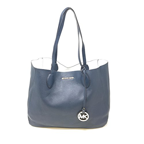 MICHAEL Michael Kors Mae Large East West Reversible - Navy Blue Handbag And Michael White Kors