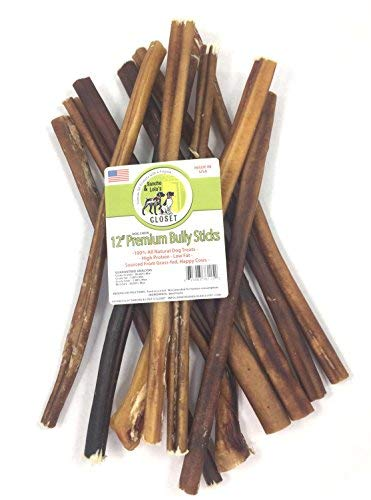 Sancho & Lola's Closet 12-inch Standard Bully Sticks for Dogs Made in USA- 20oz (10-11) Grain-Free All-Natural Dog Beef Pizzle Chews