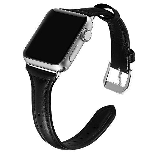 Simpeak Comapatible for iWatch Band 42mm 44mm, Genuine Leather Replacement iWatch Wristband Strap with Metal Buckle for iWatch Series 4 3 2 1 Sport and Edition, Slim Design for Women Men, Black