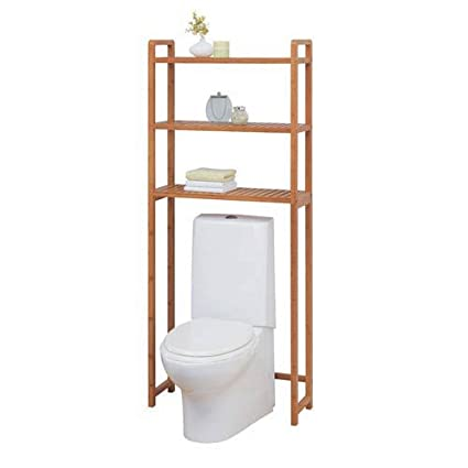 Organize It All Natural Bamboo 3 Tier Over Toilet Bathroom Storage