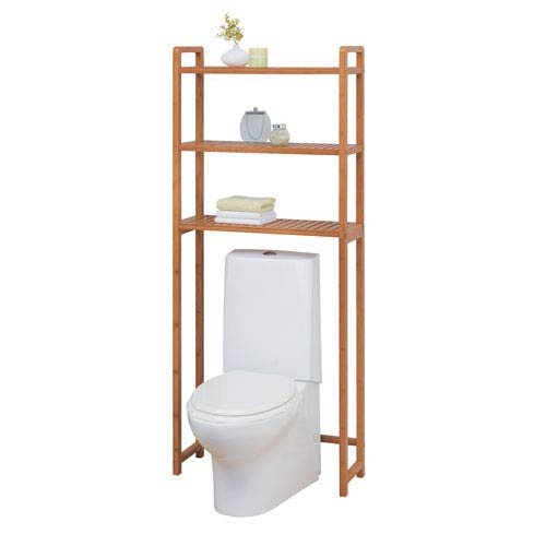 Organize It All Natural Bamboo 3 Tier Over Toilet Bathroom Storage Space Saver 29941W-1