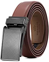 Marino Avenue Men's Genuine Leather Ratchet Dress Belt with Linxx Buckle - Gift Box (Charcoal Depiction - Tan, Adjustable from 28
