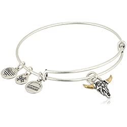 Alex and Ani Spirited Skull Bangle Bracelet, Rafaelian Silver, Expandable