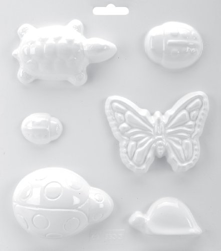 Yaley Soapsations Soap Mold, 8 by 9-Inch, 2 Turtles/3 Ladybugs/Butterfly