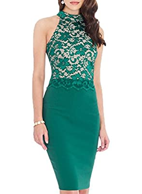 WOOSEA Women's Elegant Sleeveless Floral Lace Vintage Midi Cocktail Party Dress