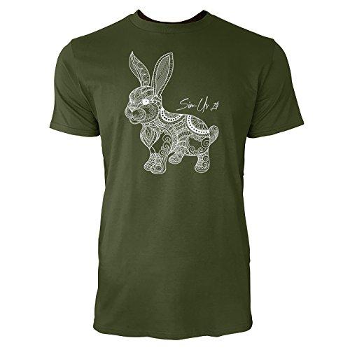 SINUS ART ® Handgemalter Hase mit Ornamenten Herren T-Shirts in Armee Grün Fun Shirt mit tollen Aufdruck