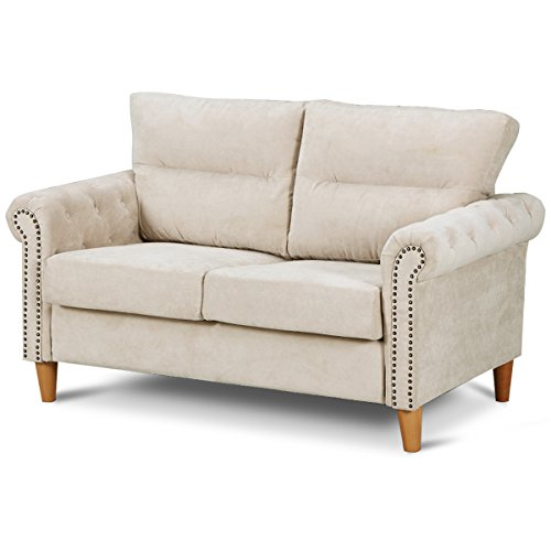 Giantex Upholstered Loveseat Sofa Couch Linen Fabric Contemporary Living Room Modern Overstuffed Classically Styled Couch Loveseat w/Removable Cushions, Roll Arms (Beige)