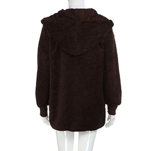 Ropa de Larga Suéter Mujer Ropa Invierno Manga youth® abrigo Baratas Suelta K Café Piel sintética Tops 1wB5qY