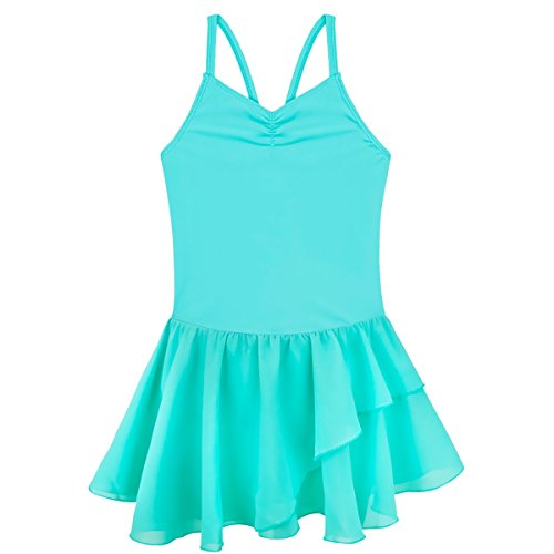 (FEESHOW Girls' Gymnastic Camisole Leotard Ballet Dance Dress Ruffle Tutu Skirt Turquoise)