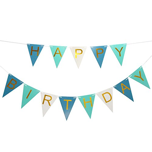 LOVELY BITON(TM Tricolor Happy Birthday Banner Decorations Banner Colorful Party Supplies Bunting for Girl and Boy