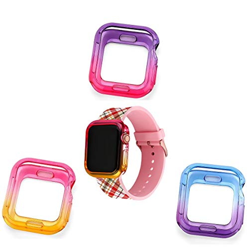 Doweiss Compatible for Apple Watch Series 5 and Series 4 Case (3 Pack), Colorful Soft TPU Bumper Protective Cover Shock Proof Shatter Resistant Lightweight Thin Frame Compatible iWatch Seres 5 and 4