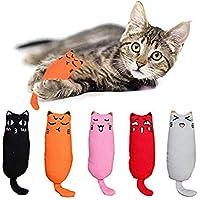 Beauenty 5Pcs Catnip Toy, Cat Chew Toy Bite Resistant Catnip Toys for Cats,Catnip Filled Cartoon Mice Cat Teething Chew…