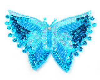 Sequin Appliques For Costumes (Large Grace Butterfly Applique By Shine Trim - Turquoise)