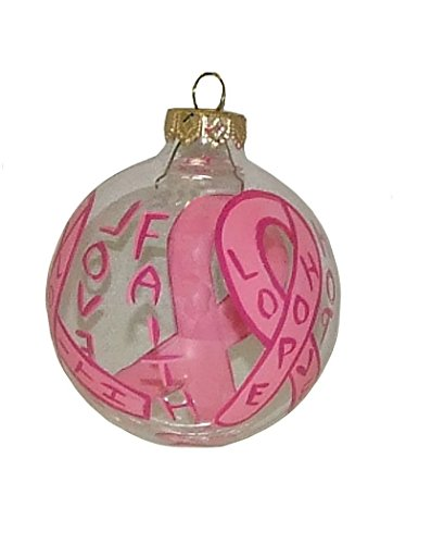 (Breast Cancer Ornament. Hand Painted on Clear Glass Ball.)