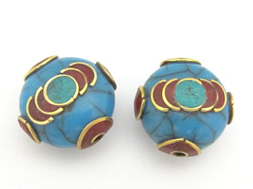 1 Bead - Tibetan blue crackle Resin bead with brass , turquoise and coral inlay - -