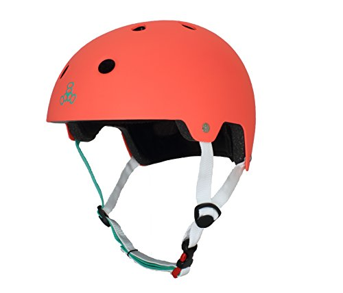 Triple Eight 3066 Dual Certified Helmet, X-Small/Small, Neon Tangerine Rubber (Small Extra Helmet)