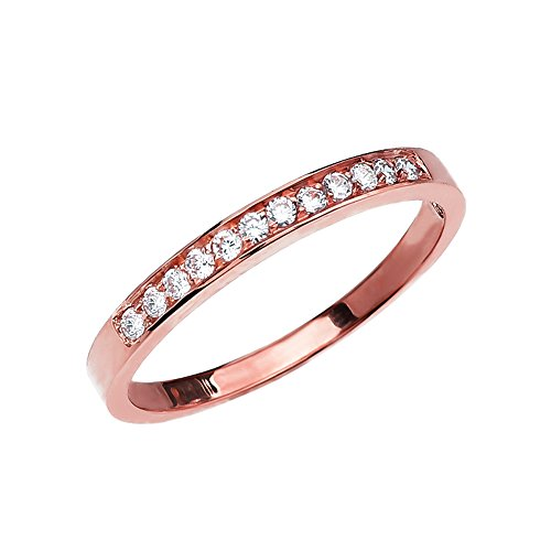 Diamond 14k Rose Gold Elegant Wedding Band (Size 4)