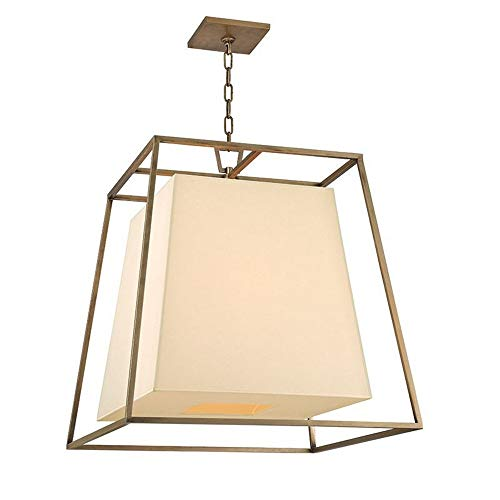 (Hudson Valley 6924-AGB, Kyle Square Pendant, 4 Light, 300 Total Watts, Brass)