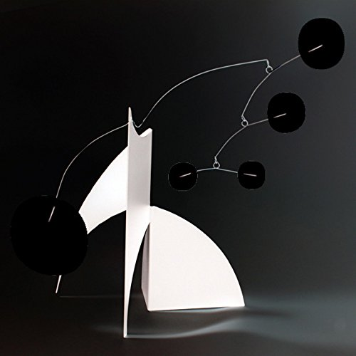 The Moderne Art Stabile in White & Black - a mobile you display on desktop, coffee table, or shelf - Inspired by Alexander Calder - Eames Midcentury Modern Style by Atomic Mobiles
