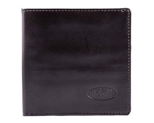 Big Skinny Men's RFID Blocking World Leather Bi-Fold Slim Wallet with Zippered Pocket, Holds Up to 25 Cards, Black