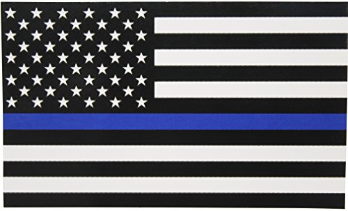 Thin Blue Line Flag Decal - 3x5 in. Black White and Blue American Flag Sticker for Cars and Trucks - in Support of Police and Law Enforcement Officers (1) ()