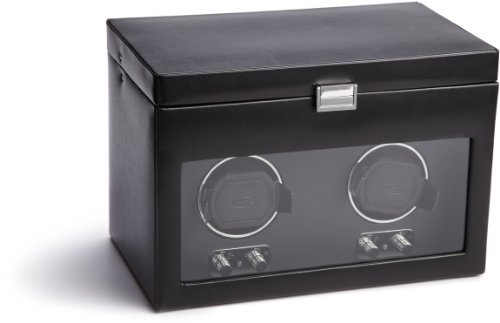 WOLF 270402 Heritage Double Watch Winder with Cover and Storage Black