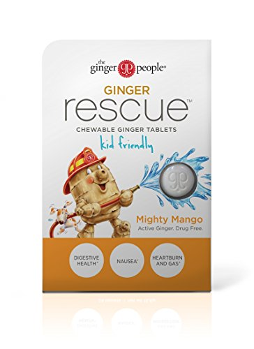 Ginger Rescue - Chewable Ginger Tablets by The Ginger People for Motion Sickness & Nausea, Mighty Mango, 24 tabs (Ginger Tablets)