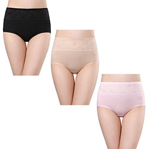 Wirarpa 3er-Pack Damen Taillenslip Unterwäsche Modal Slip Panty in Hoher Taille